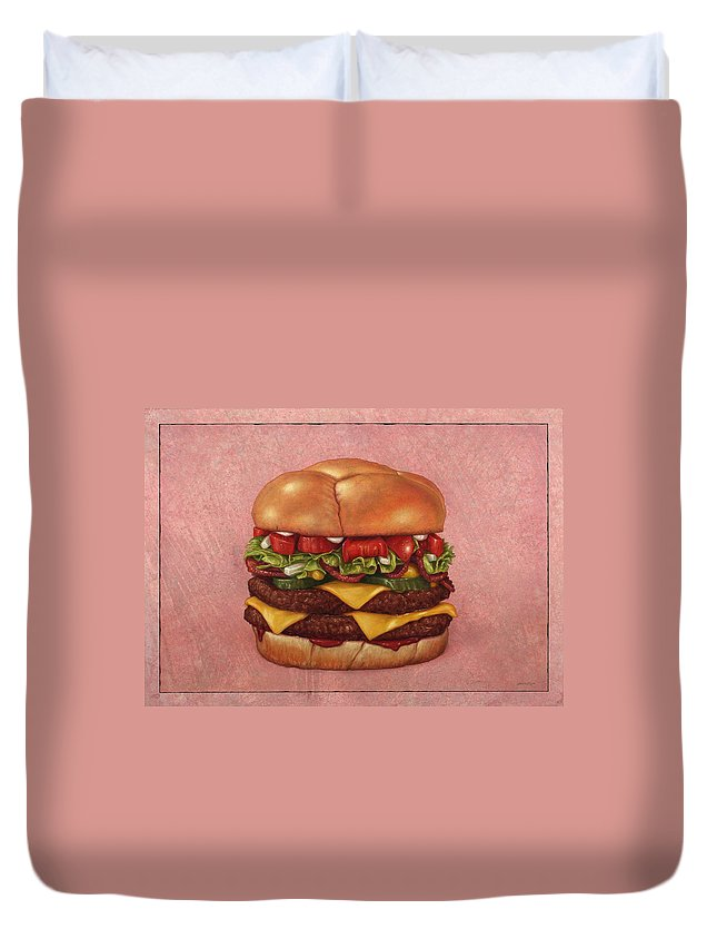 Burger Duvet Cover featuring the painting Burger by James W Johnson