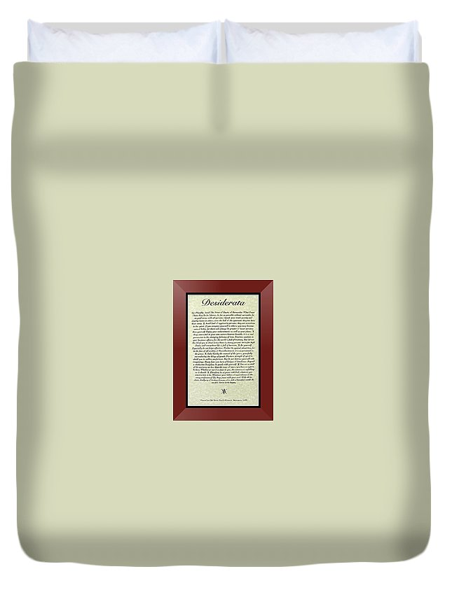 Desiderata Duvet Cover featuring the mixed media Burgundy Framed Original Desiderata Poster by Desiderata Gallery