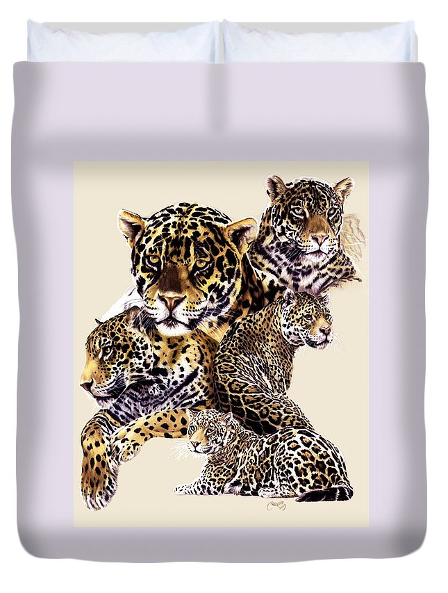 Jaguar Duvet Cover featuring the drawing Burn by Barbara Keith