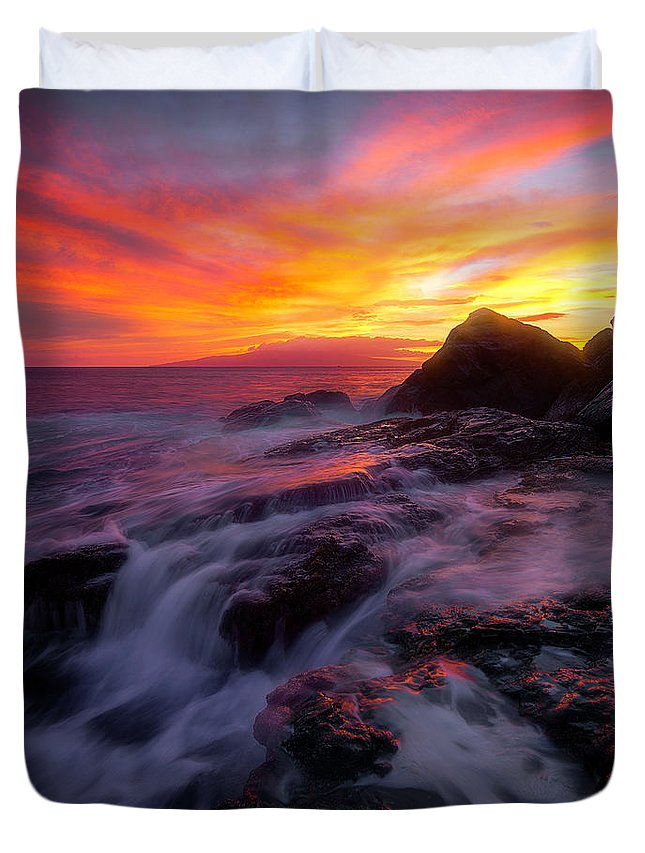 Duvet Cover featuring the photograph Burn by Micah Roemmling