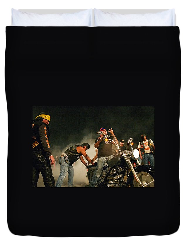 Biker Duvet Cover featuring the photograph Burn Out by Skip Hunt