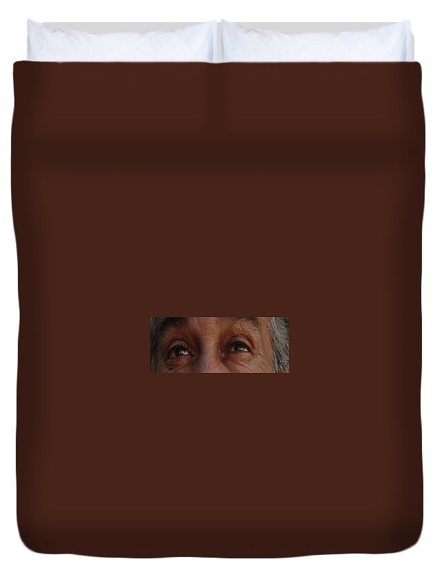 Eyes Duvet Cover featuring the photograph Burned Eyes by Peter Piatt