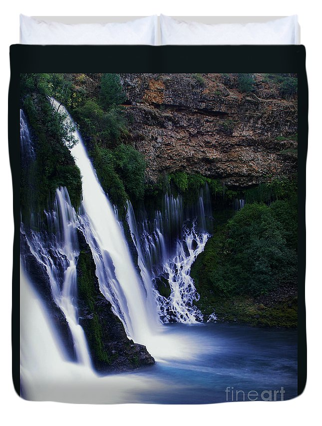 River Duvet Cover featuring the photograph Burney Blues by Peter Piatt