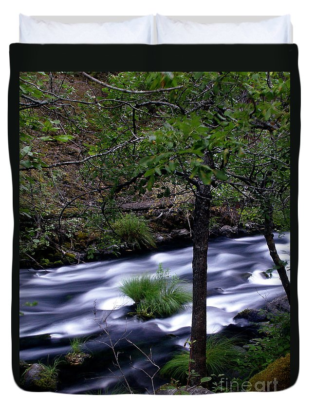 River Duvet Cover featuring the photograph Burney Creek by Peter Piatt