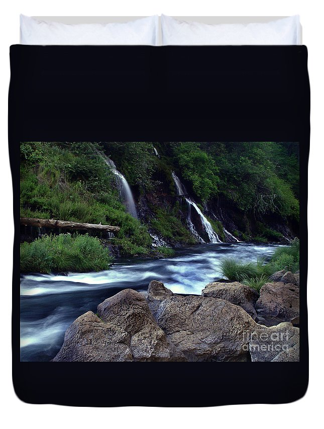 River Duvet Cover featuring the photograph Burney Falls Creek by Peter Piatt