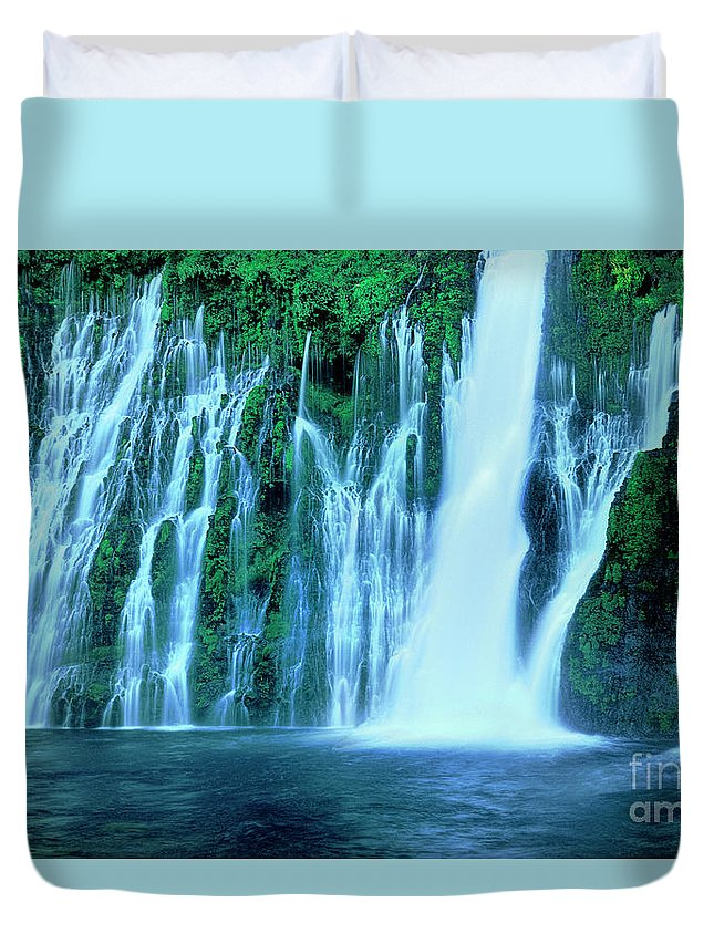 Dave Welling Duvet Cover featuring the photograph Burney Falls Mcarthur Burney State Park California by Dave Welling