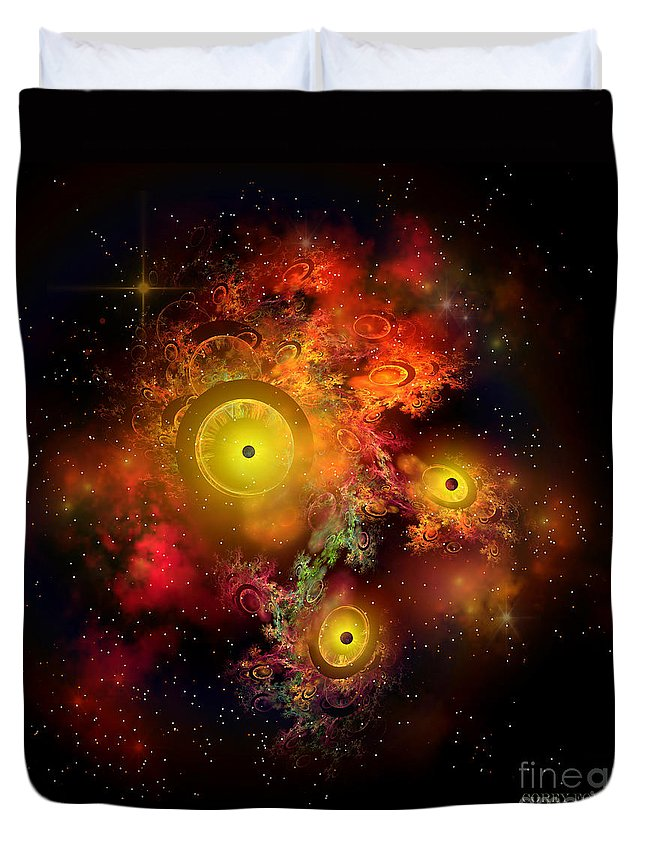 Science Fiction Duvet Cover featuring the painting Burning Embers Nebula by Corey Ford