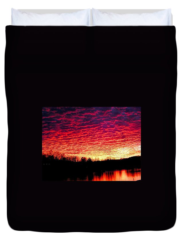 Sunset Duvet Cover featuring the photograph Burning Lake by Andrew Webb