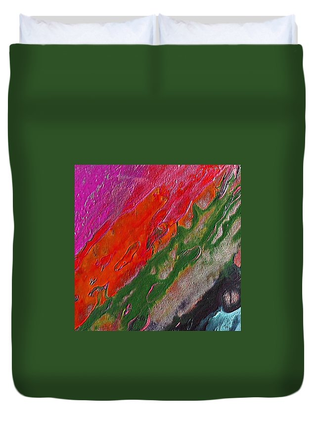Abstract Encaustic Painting Duvet Cover featuring the painting Burning Lava by Dragica Micki Fortuna