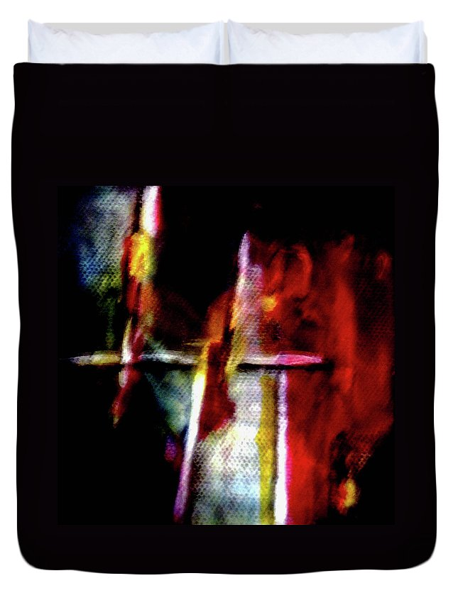 Cross Duvet Cover featuring the painting Burning Legacy by Janice Nabors Raiteri