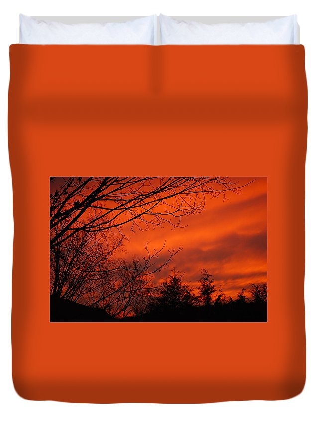 Landscape Duvet Cover featuring the photograph Burning Sky by Lori Tambakis