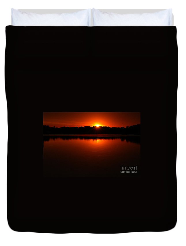 Clay Duvet Cover featuring the photograph Burnt Orange Sunset On Water by Clayton Bruster