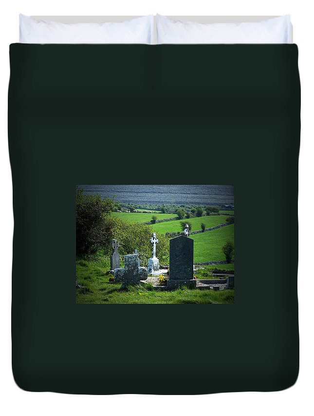 Irish Duvet Cover featuring the photograph Burren Crosses County Clare Ireland by Teresa Mucha