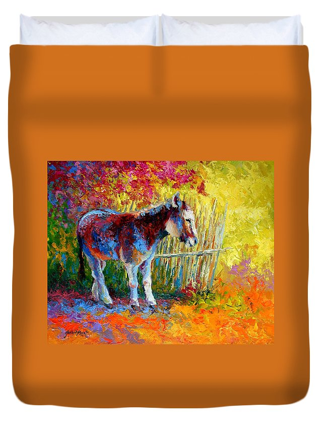 Western Duvet Cover featuring the painting Burro And Bouganvillia by Marion Rose