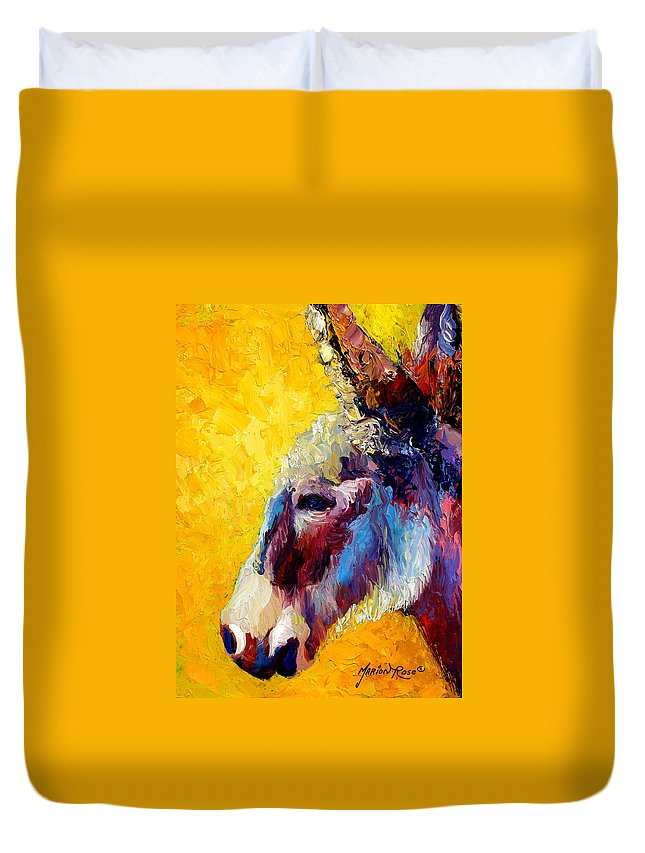 Western Duvet Cover featuring the painting Burro Study II by Marion Rose