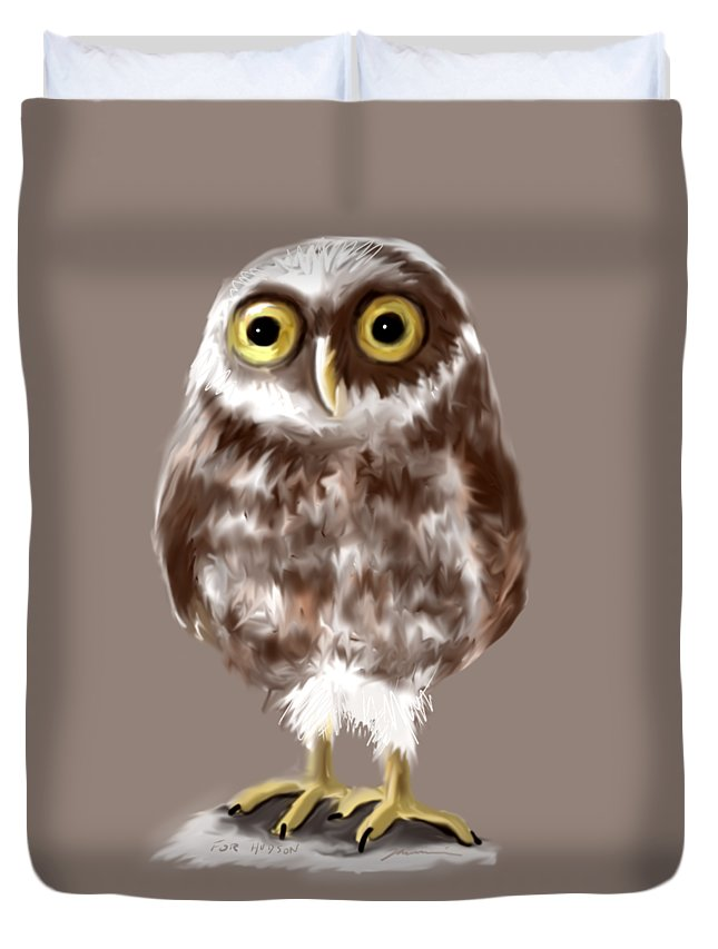 Owl Duvet Cover featuring the painting Burrowing Owl by Jean Pacheco Ravinski