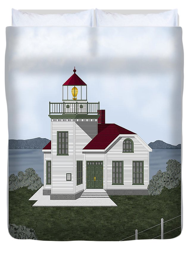 Burrows Island Lighthouse Duvet Cover featuring the painting Burrows Island Lighthouse by Anne Norskog