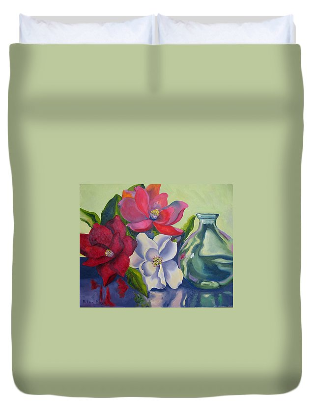 Flowers Duvet Cover featuring the painting Burst Of Color by Lisa Boyd