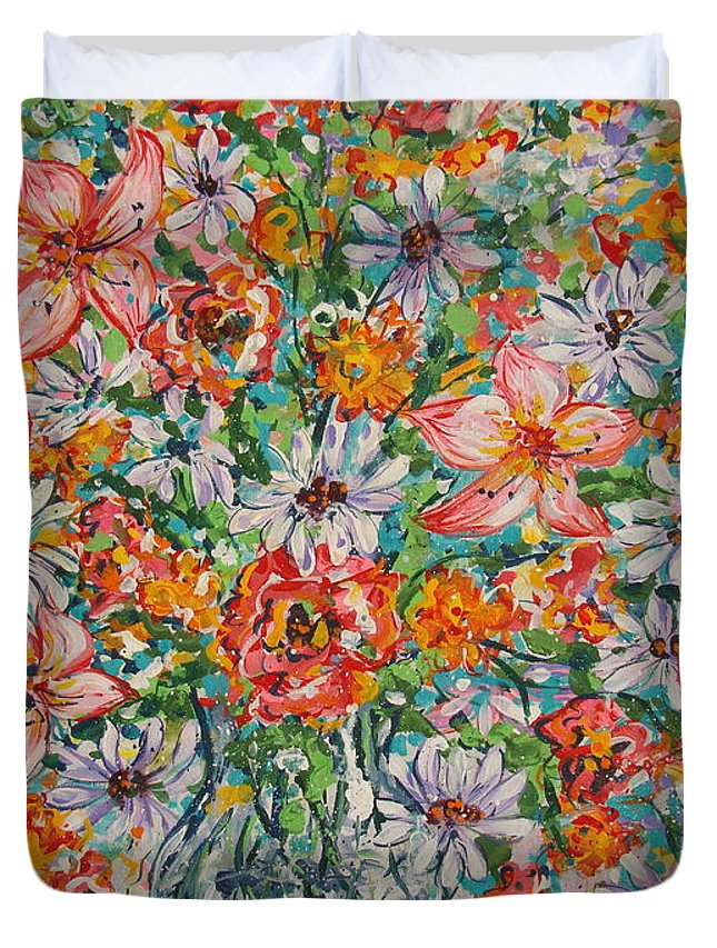 Flowers Duvet Cover featuring the painting Burst Of Flowers by Leonard Holland