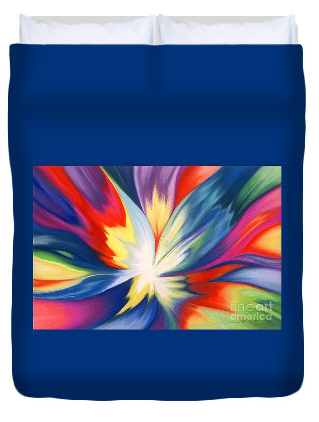 Abstract Duvet Cover featuring the painting Burst Of Joy by Lucy Arnold