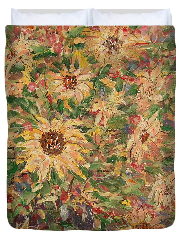 Flowers Duvet Cover featuring the painting Burst Of Sunflowers. by Leonard Holland