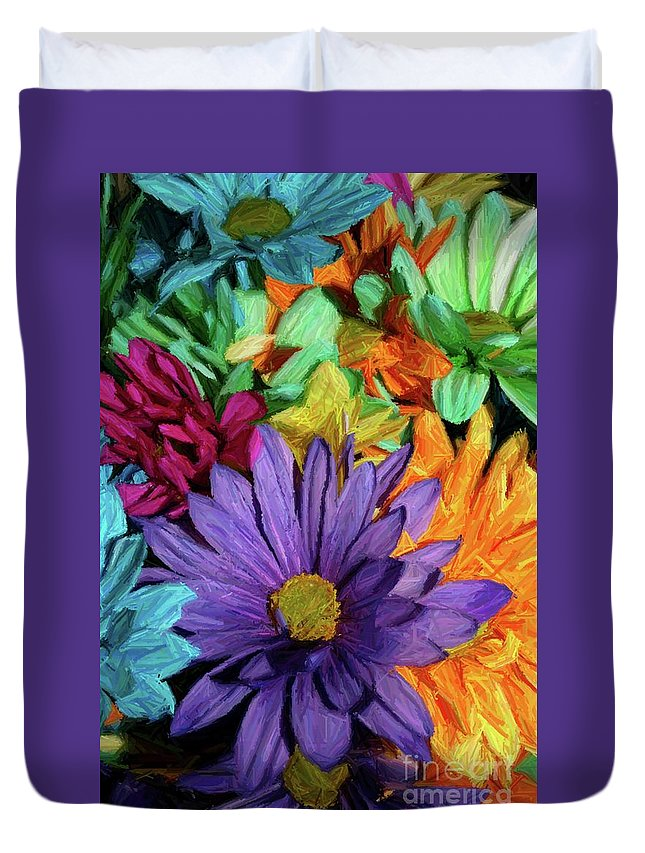 Purple Duvet Cover featuring the photograph Bursting Colors by John W Smith III