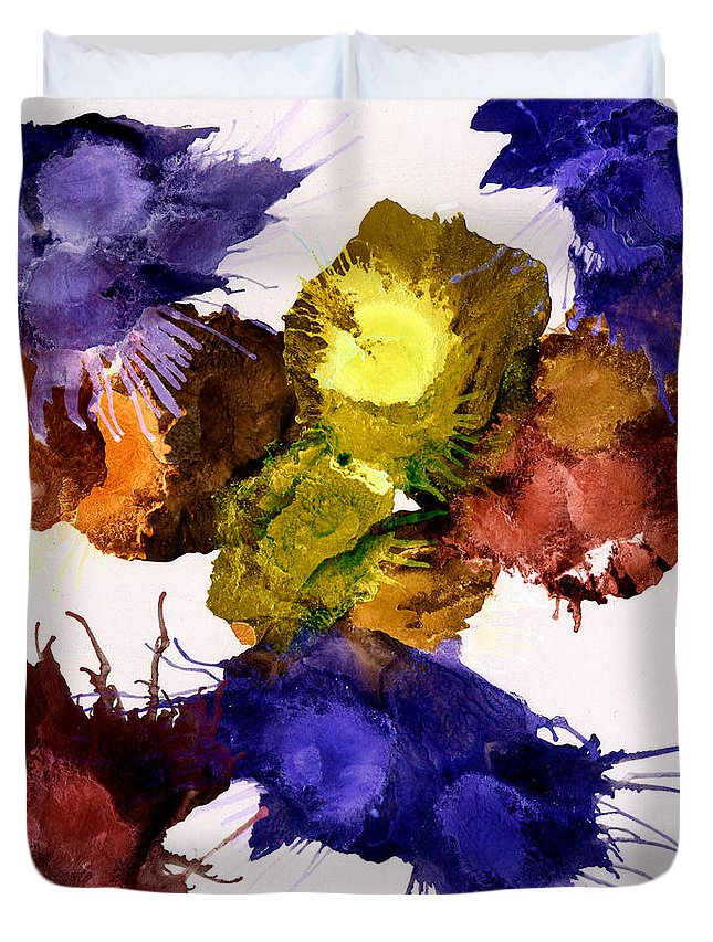 Acrylic Duvet Cover featuring the mixed media Bursting Comets 2017 - Yellow And Purple On White by Roses Fine Art Studio