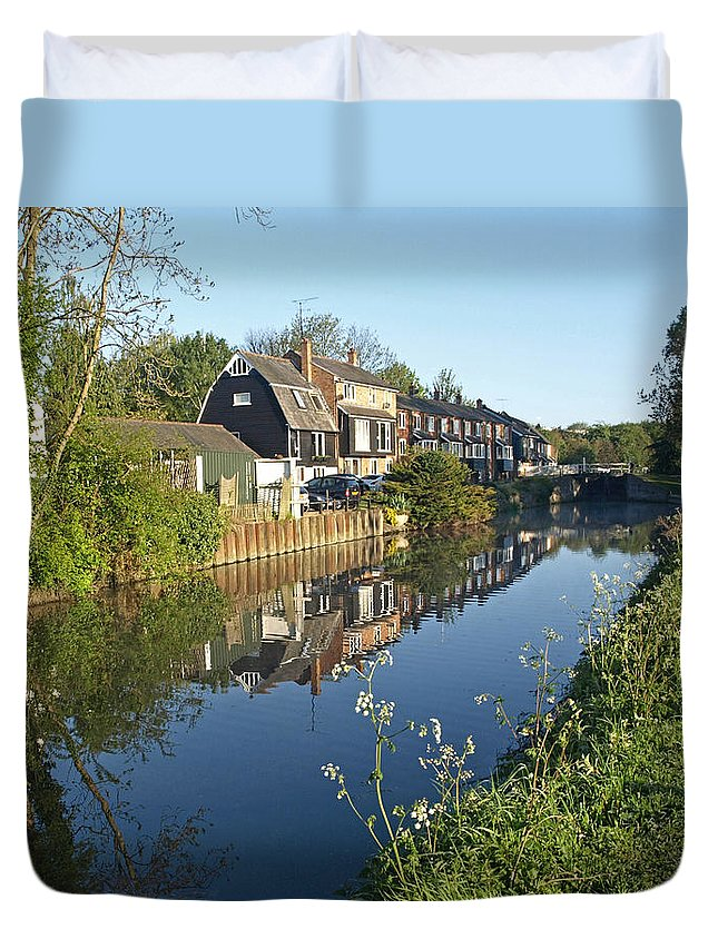 River Duvet Cover featuring the photograph Burtons Mill by Gill Billington