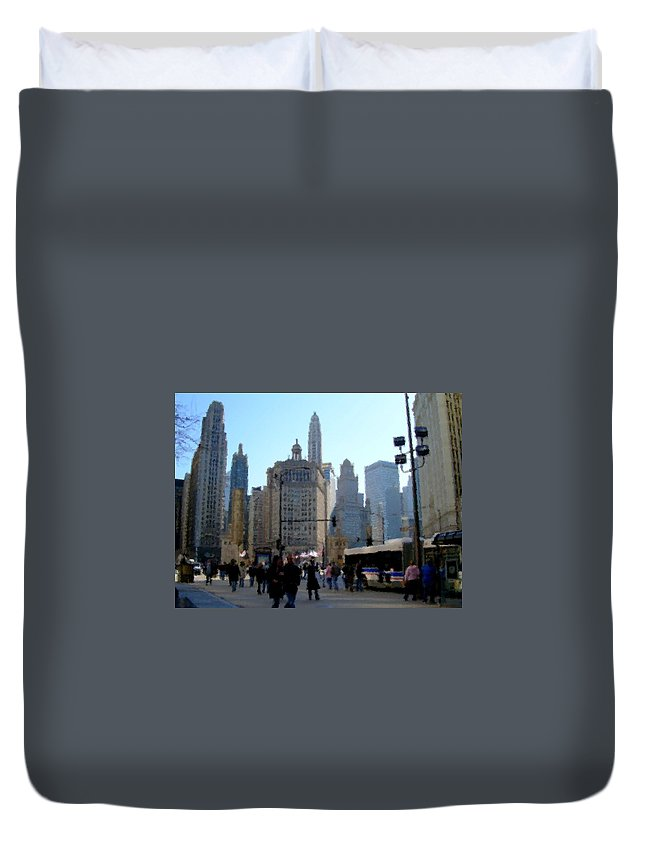 Archtecture Duvet Cover featuring the digital art Bus On Miracle Mile by Anita Burgermeister