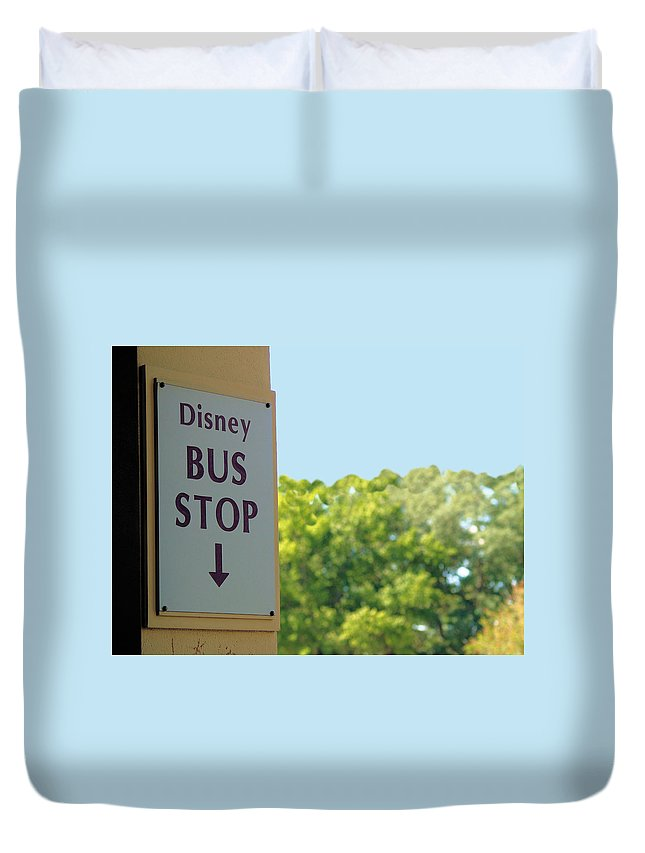 Disney Duvet Cover featuring the photograph Bus Stop by Nora Martinez
