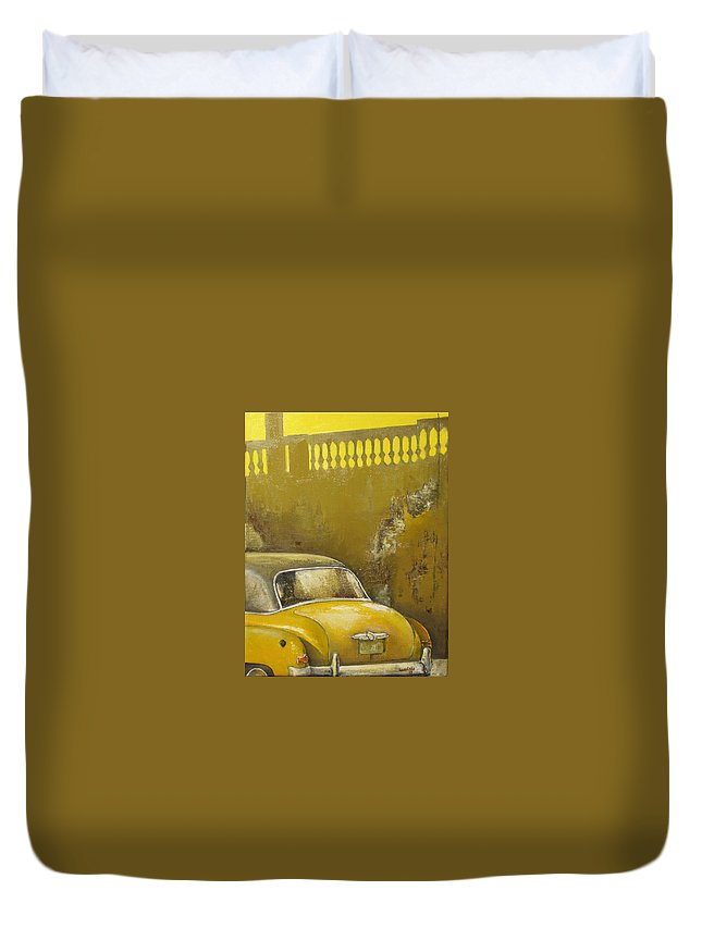 Havana Duvet Cover featuring the painting Buscando La Sombra by Tomas Castano