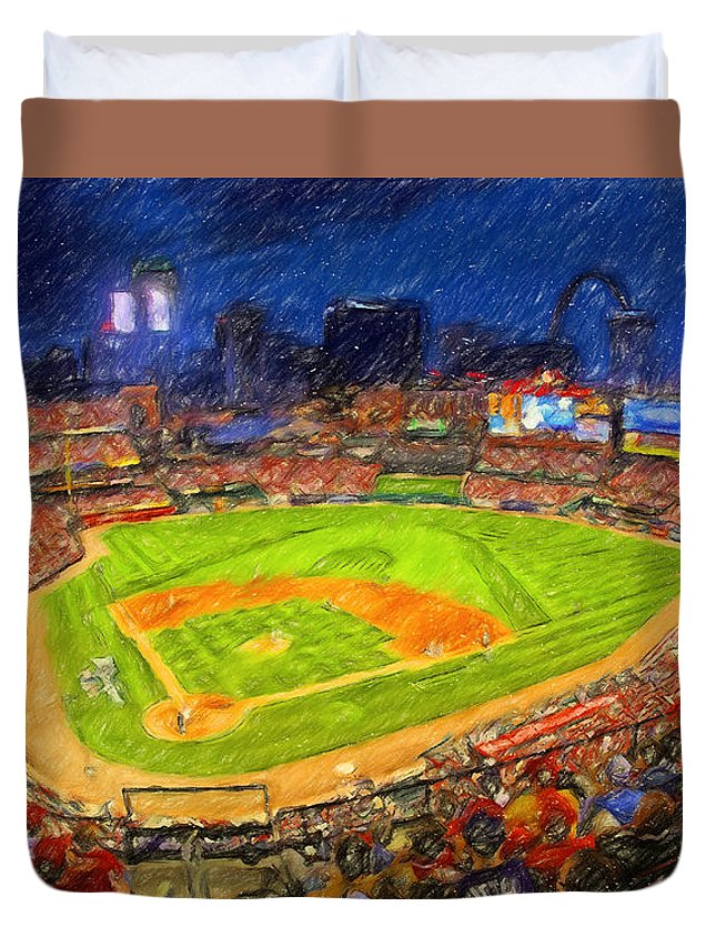 St. Louis Cardinals Duvet Cover featuring the painting Busch Stadium At Night Rocks by John Farr