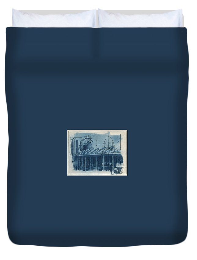 Blue Duvet Cover featuring the photograph Busch Stadium by Jane Linders