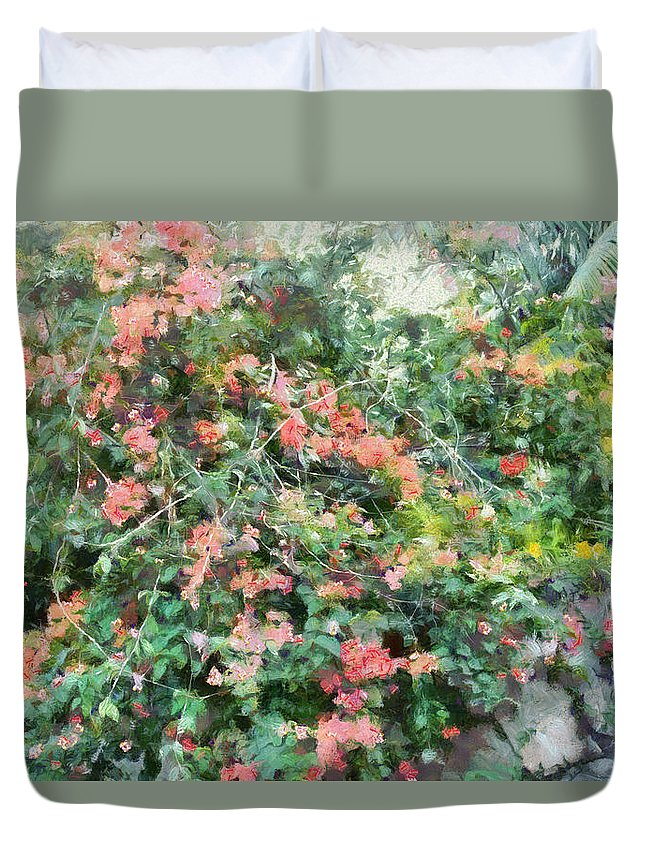 Peach Flowers Duvet Cover featuring the photograph Bush Full Of Flowers. by Ashish Agarwal