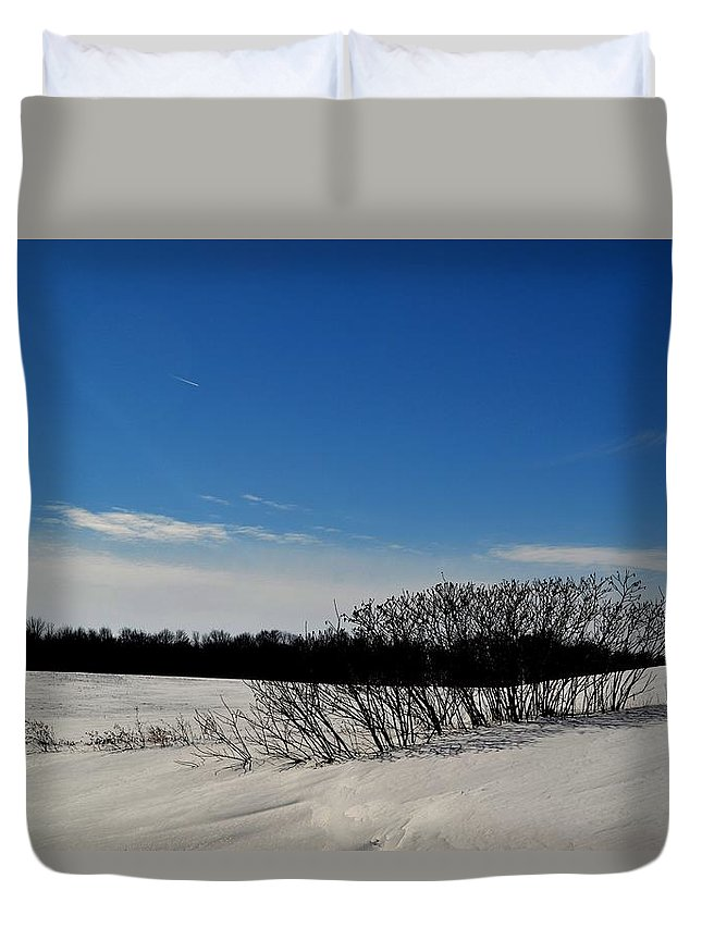 Abstract Duvet Cover featuring the photograph Bush In The Snow by Lyle Crump