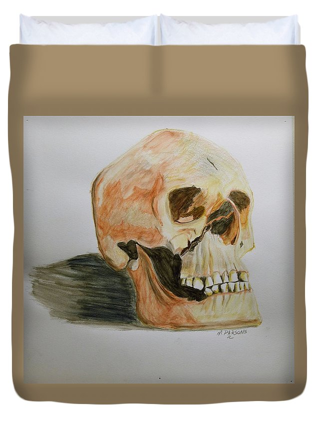 Skull Duvet Cover featuring the drawing Busted by Mike Parsons
