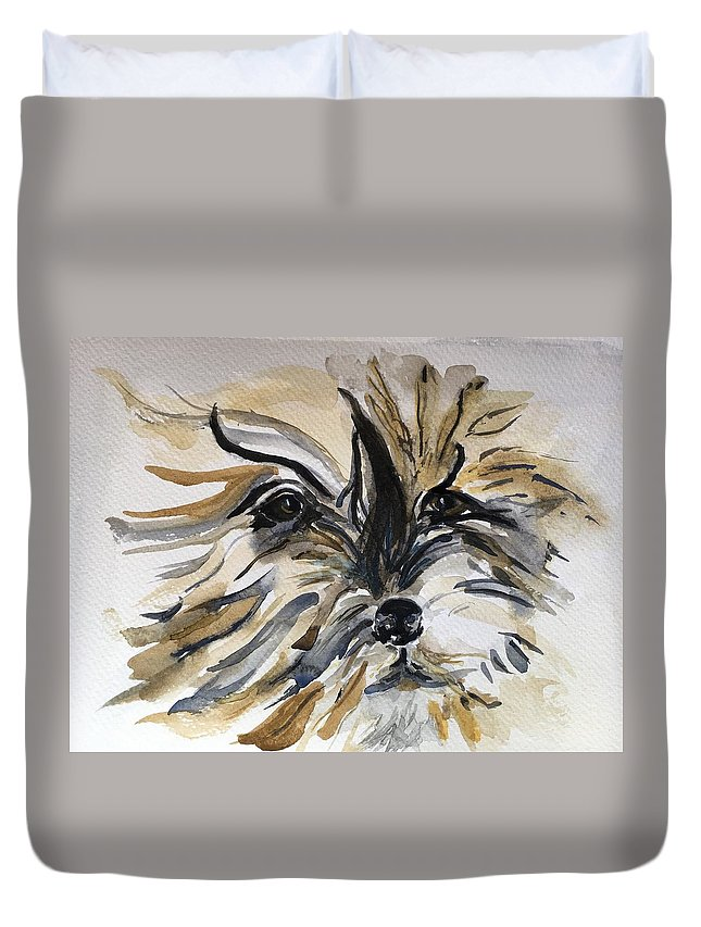 Dog Duvet Cover featuring the painting Buster by Kate Byrne