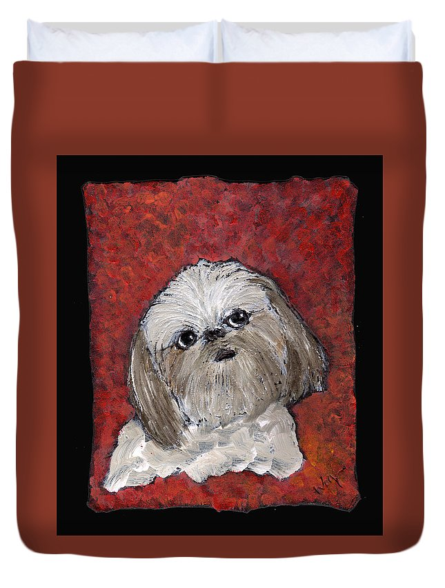 Dog Duvet Cover featuring the painting Buster by Wayne Potrafka