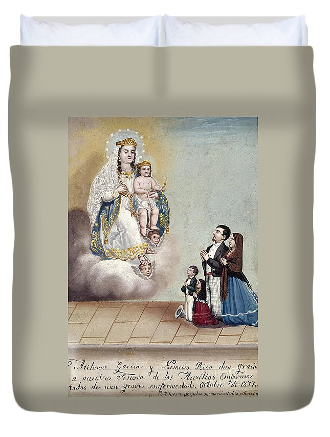 1879 Duvet Cover featuring the photograph Bustos: Worship, 1879 by Granger