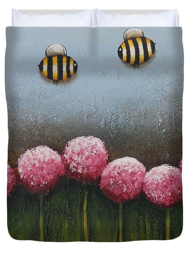 Abstract Duvet Cover featuring the painting Busy Bee by Lucia Stewart