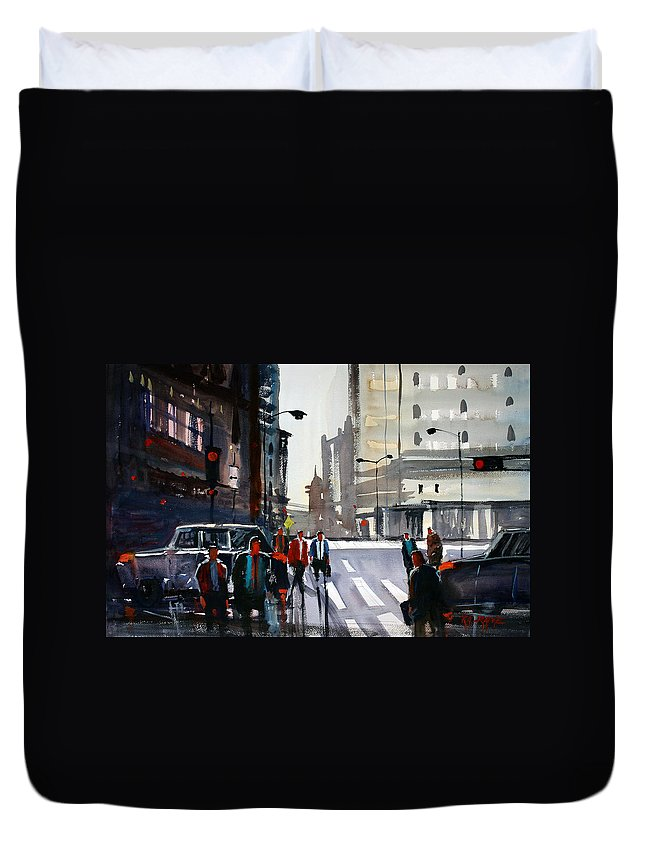 Ryan Radke Duvet Cover featuring the painting Busy City - Chicago by Ryan Radke