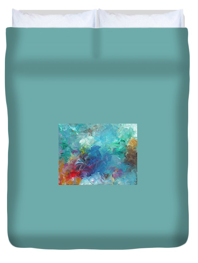 Abstract Duvet Cover featuring the painting Busy Day by Peggy King