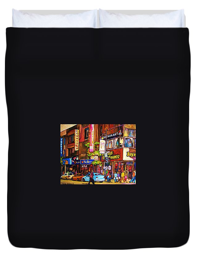Cityscape Duvet Cover featuring the painting Busy Downtown Street by Carole Spandau