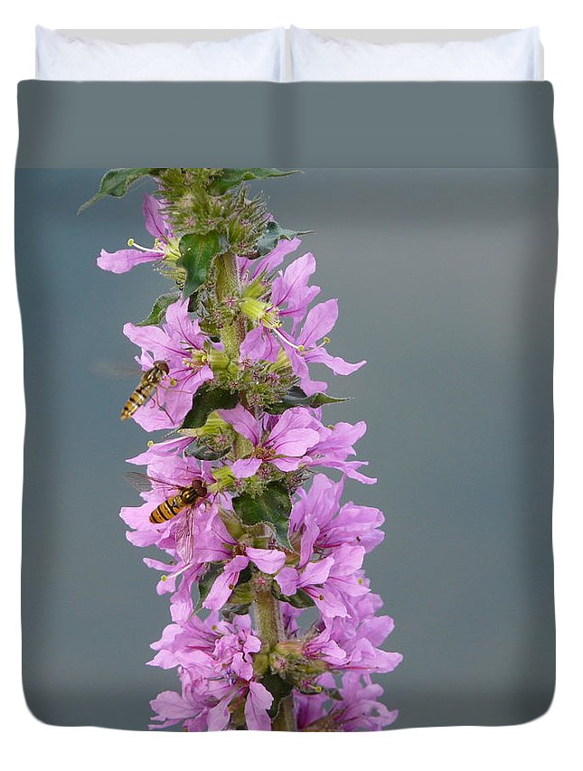 Flower Duvet Cover featuring the photograph Busy Flower by Valerie Ornstein