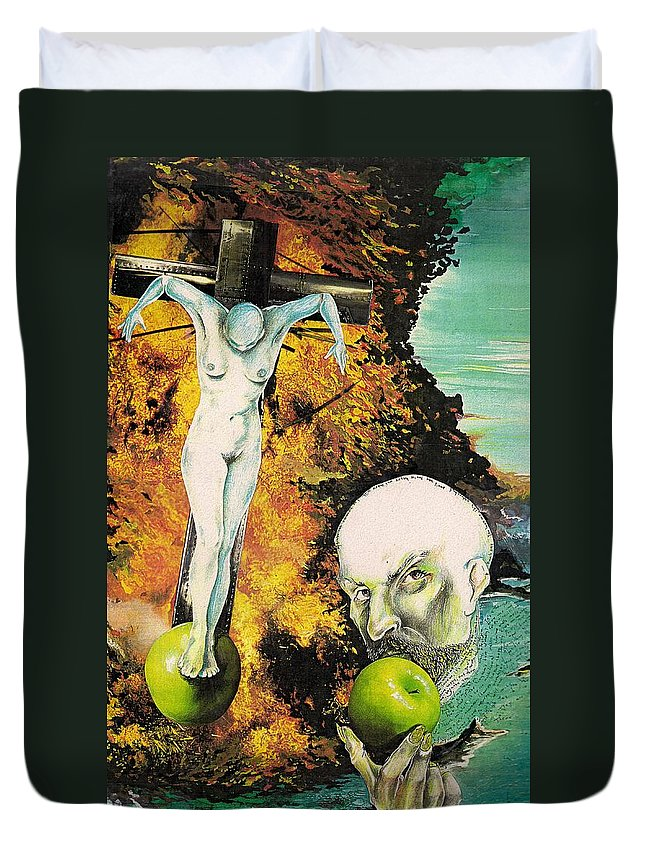 Lust Temptation Crucifix Hell Inferno Heaven Water Woman Sex Lust Apple Fire Duvet Cover featuring the mixed media But For Lust... by Veronica Jackson