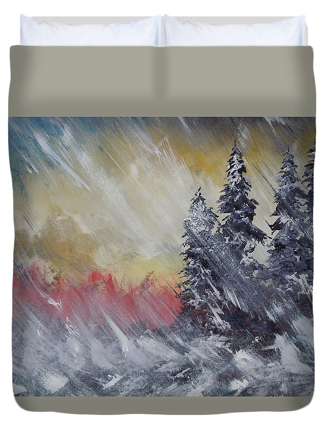 Weather Duvet Cover featuring the painting But The Weather Man Said.... by Dan Whittemore