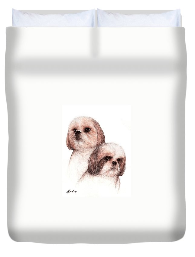 Dog Art Bruce Lennon Animals Duvet Cover featuring the painting Butch And Bruser by Bruce Lennon