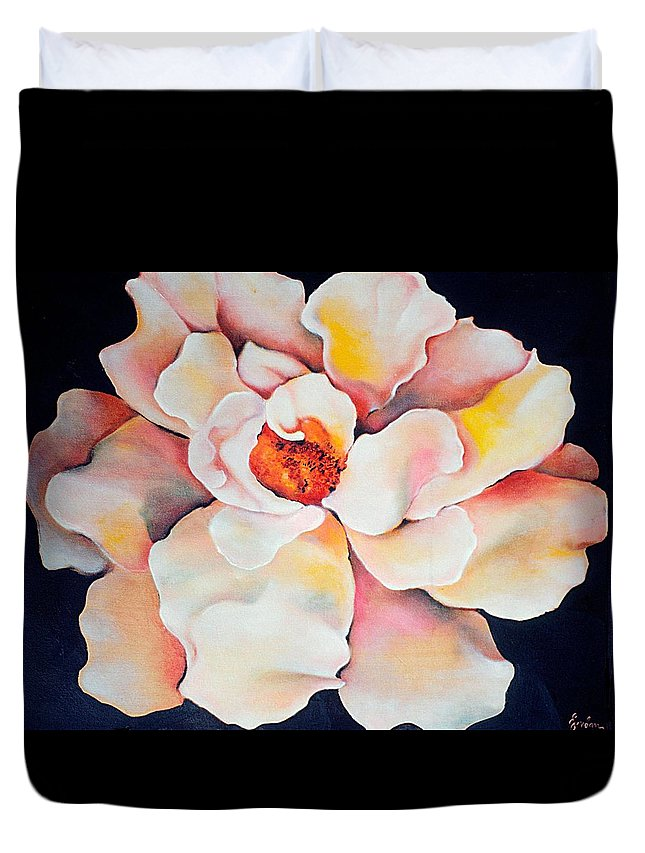 Large Floral Duvet Cover featuring the painting Butter Flower by Jordana Sands
