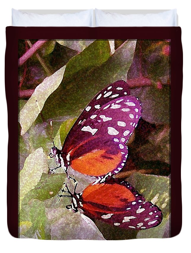 Butterflies Duvet Cover featuring the photograph Butter Mates by Vallee Johnson