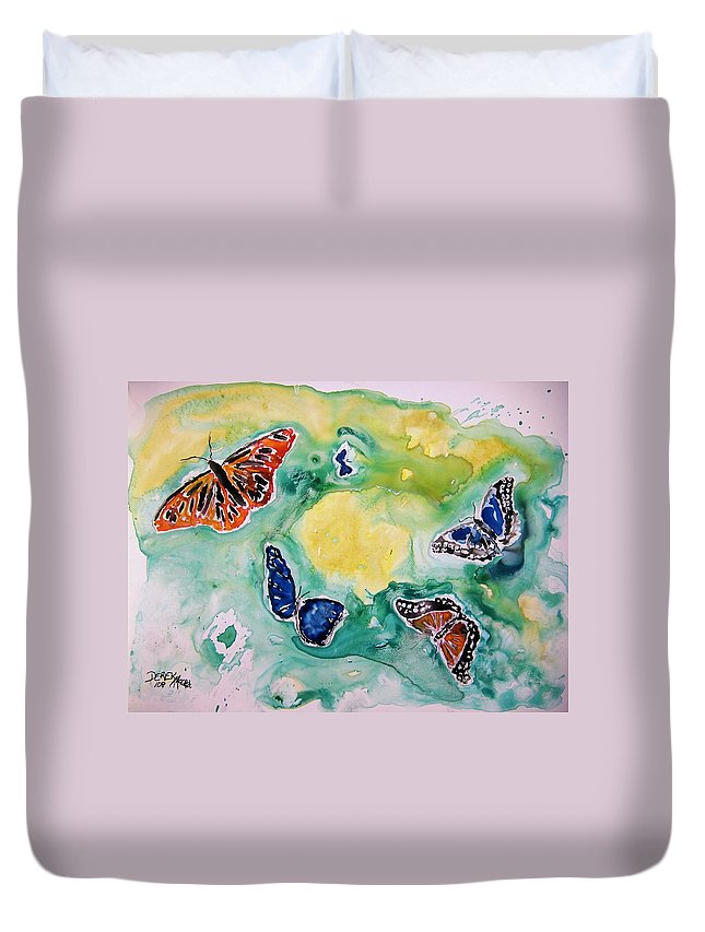 Watercolour Duvet Cover featuring the painting Butterflies by Derek Mccrea